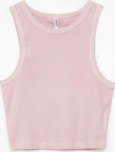 Różowa bluzka Cropp w stylu casual z okrągłym dekoltem