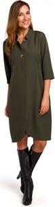 Zielona sukienka Style z dekoltem w kształcie litery v midi z długim rękawem