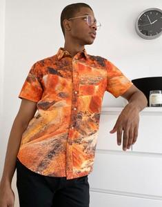 Pomarańczowa koszula Asos z klasycznym kołnierzykiem