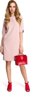 Różowa sukienka Stylove w stylu casual z krótkim rękawem midi