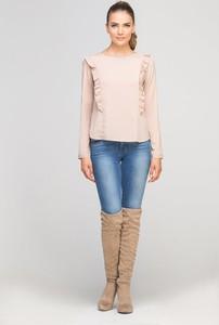 Różowa bluzka Lanti z długim rękawem w stylu casual