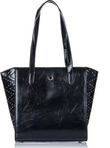 Czarna torebka Monnari ze skóry duża