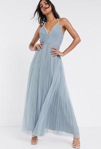 Niebieska sukienka Asos Design maxi z dekoltem w kształcie litery v