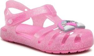 Różowe buty dziecięce letnie Crocs dla dziewczynek na rzepy
