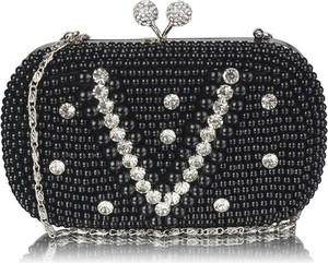 Czarna torebka Wielka Brytania zdobiona w stylu glamour z aplikacjami