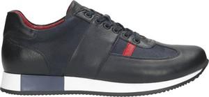 Czarne buty sportowe Wojas ze skóry sznurowane