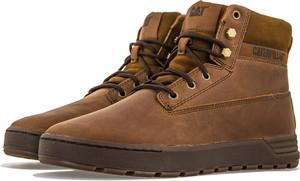 Brązowe buty zimowe Caterpillar ze skóry sznurowane