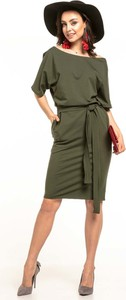 Zielona sukienka Tessita z krótkim rękawem w stylu casual
