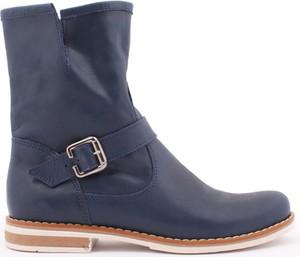 Granatowe botki Zapato z płaską podeszwą ze skóry w stylu casual