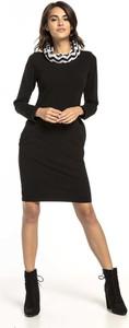 Czarna sukienka Tessita mini z długim rękawem