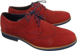 Czerwone półbuty Faber sznurowane w stylu casual