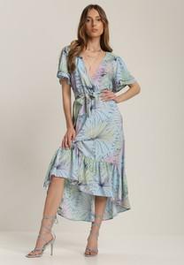Niebieska sukienka Renee z dekoltem w kształcie litery v midi