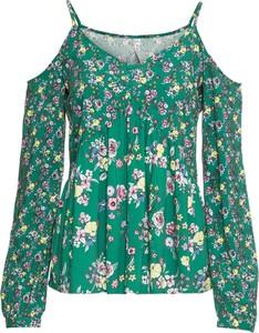Zielona bluzka bonprix RAINBOW z dekoltem w kształcie litery v z długim rękawem