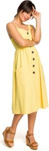 Sukienka Be midi z tkaniny z dekoltem w kształcie litery v