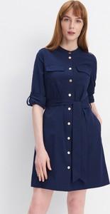 Niebieska sukienka Mohito mini koszulowa