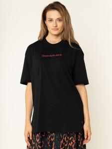 Czarny t-shirt Calvin Klein w młodzieżowym stylu z krótkim rękawem