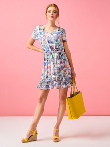 Sukienka Smashed Lemon z krótkim rękawem z tkaniny