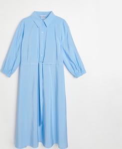 Niebieska sukienka Reserved szmizjerka z kołnierzykiem w stylu casual