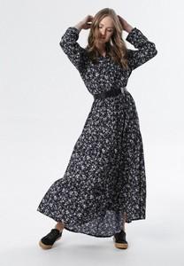 Granatowa sukienka born2be maxi z długim rękawem