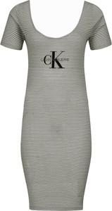 Sukienka Calvin Klein z okrągłym dekoltem z krótkim rękawem mini