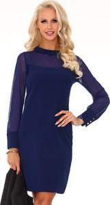 Granatowa sukienka MERRIBEL mini w stylu casual z długim rękawem