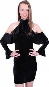 Czarna sukienka Inna z golfem z zamszu mini