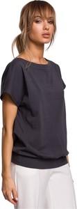 Bluzka MOE w stylu casual z krótkim rękawem z dzianiny