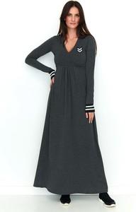 Czarna sukienka Makadamia maxi z dekoltem w kształcie litery v