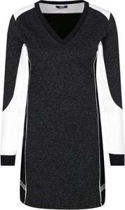 Czarna sukienka Liu Jo Sport z dekoltem w kształcie litery v z długim rękawem w stylu casual