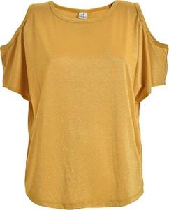 Żółty t-shirt Deha z krótkim rękawem