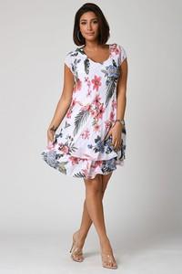 Sukienka Plus Size Fashion z krótkim rękawem z okrągłym dekoltem mini