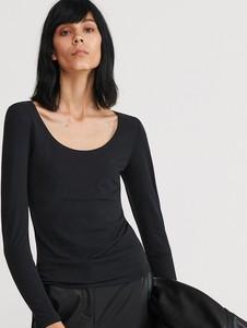 Czarna bluzka Reserved z okrągłym dekoltem z długim rękawem w stylu casual
