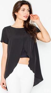 Czarna bluzka Figl z okrągłym dekoltem z krótkim rękawem