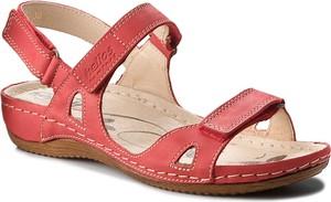 Różowe sandały Helios ze skóry na rzepy na niskim obcasie