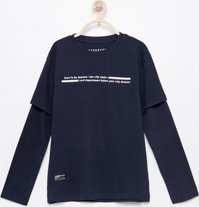 Granatowa koszulka dziecięca Reserved z dzianiny