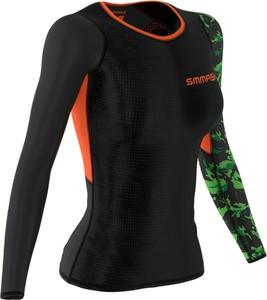 Czarna bluzka Smmash ze skóry ekologicznej z nadrukiem w militarnym stylu