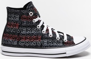 Czarne trampki Converse z płaską podeszwą w młodzieżowym stylu z nadrukiem