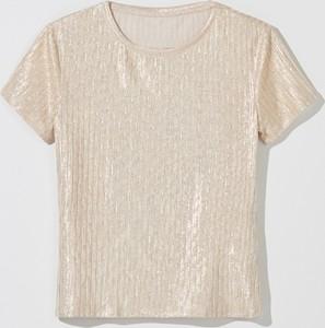 Złoty t-shirt Mohito z krótkim rękawem