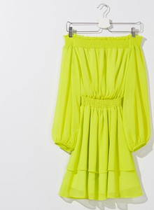 Żółta sukienka Mohito mini w stylu casual hiszpanka