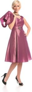 Różowa sukienka Fokus midi rozkloszowana