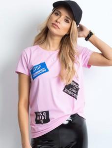T-shirt Sheandher.pl z okrągłym dekoltem w młodzieżowym stylu