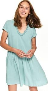 Niebieska sukienka Top Secret oversize z okrągłym dekoltem z krótkim rękawem