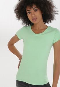 Zielony t-shirt born2be w stylu casual z krótkim rękawem z okrągłym dekoltem