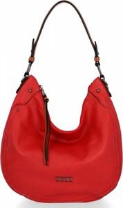 Czerwona torebka David Jones w stylu glamour na ramię