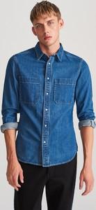 Niebieska koszula Reserved z bawełny z długim rękawem z klasycznym kołnierzykiem