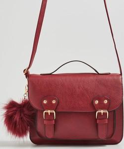 Czerwona torebka Sinsay do ręki z pomponami średnia