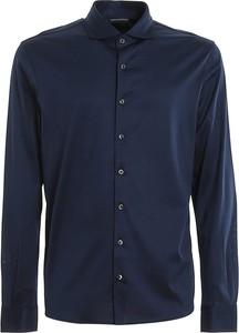 Niebieska koszula Paolo Fiorillo Capri z bawełny z kołnierzykiem button down