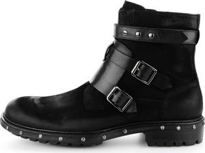 Czarne buty zimowe Prima Moda ze skóry w stylu casual