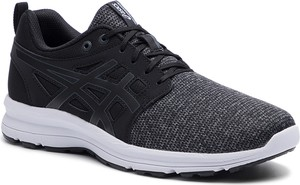 Czarne buty sportowe ASICS sznurowane ze skóry ekologicznej