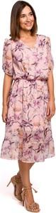 Różowa sukienka Merg z szyfonu midi